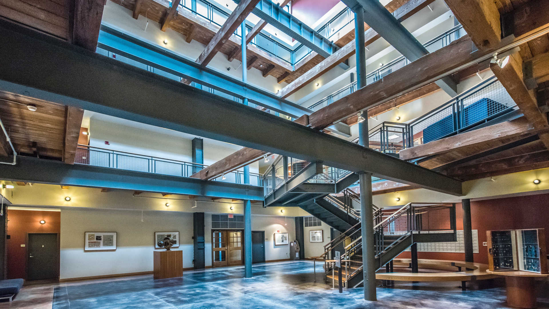 Lofts at kendall square apartments lobby atrium