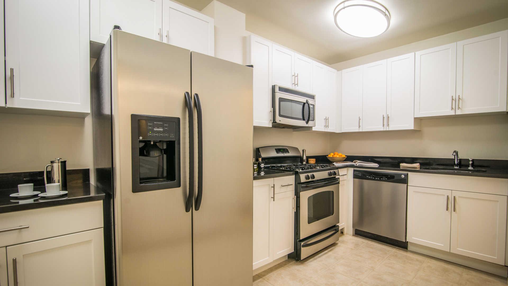 Kitchen with Double-Door Refrigerator