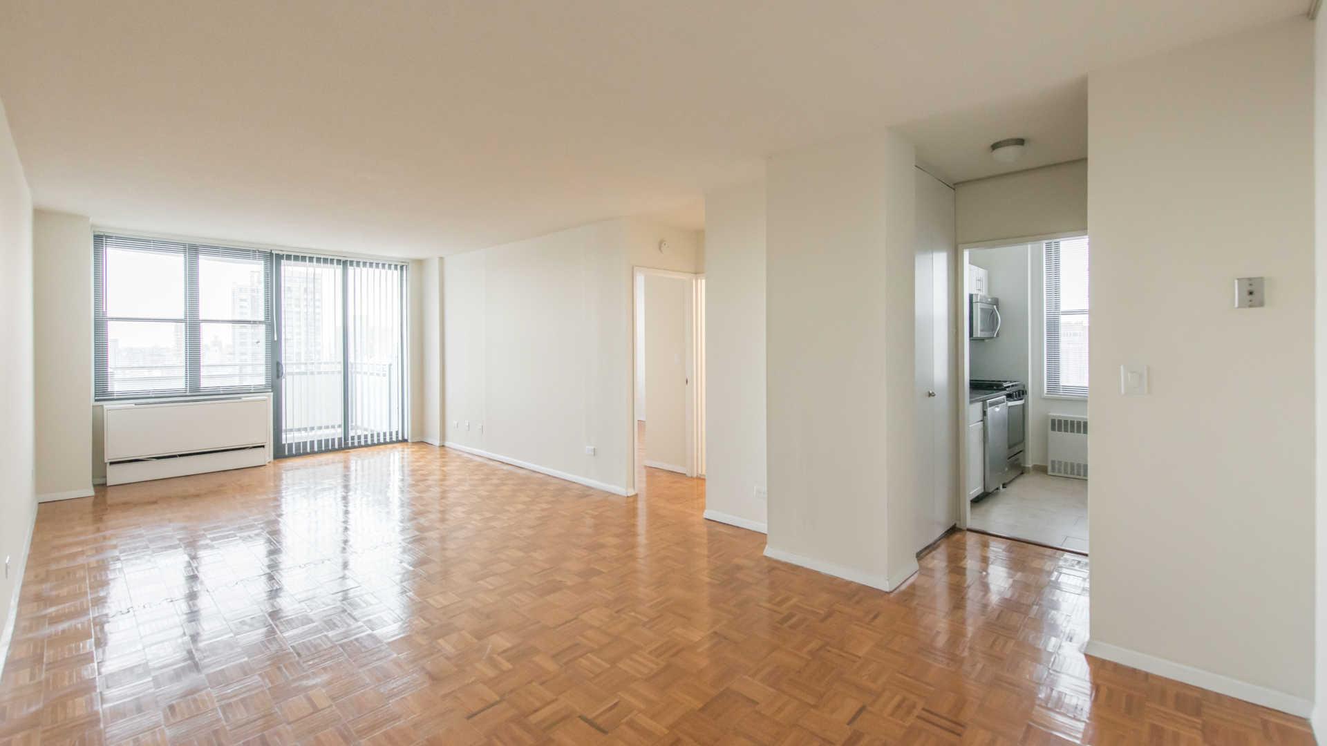 Living Room with Wood Parquet Floor