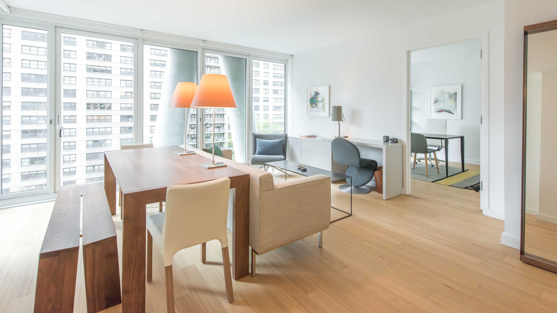 Open Living and Dining Room with Hardwood Floors
