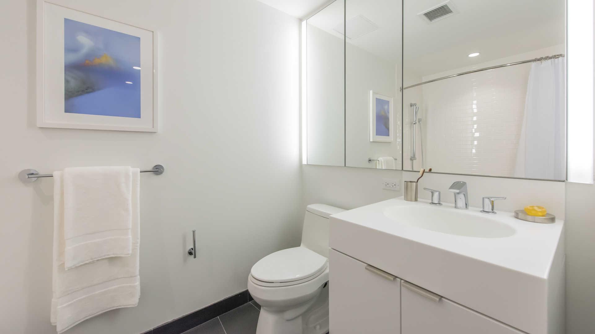 Bathroom with vanity storage