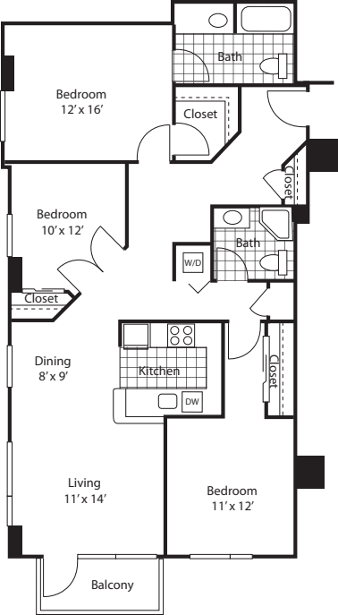 Three Bedroom 1395 B