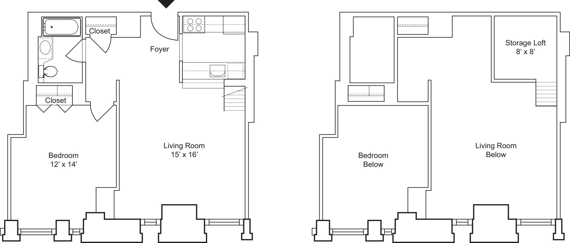 1 Bedroom I- Floors 3 & 4