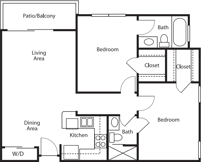 Two-Bedroom / Two-Bath 884