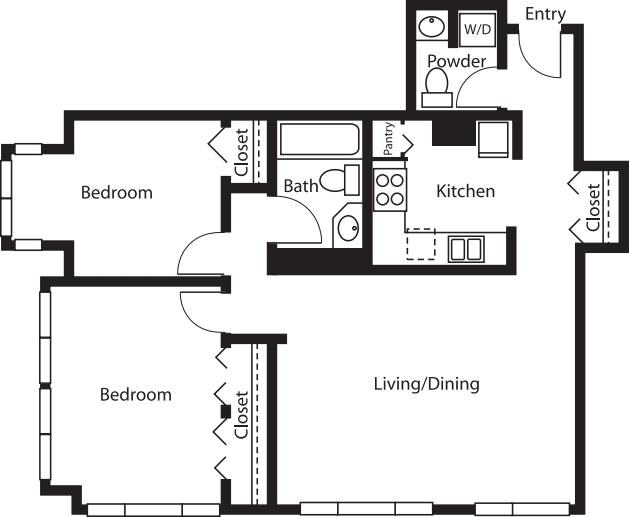 2 Bedroom/1.5 Bath Tower