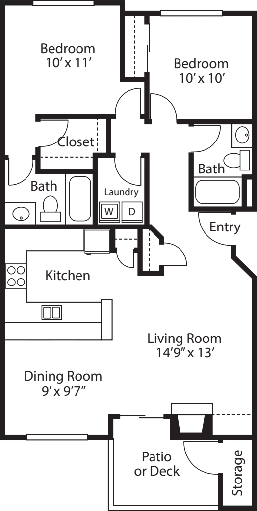 Two Bedroom/ Two Baths