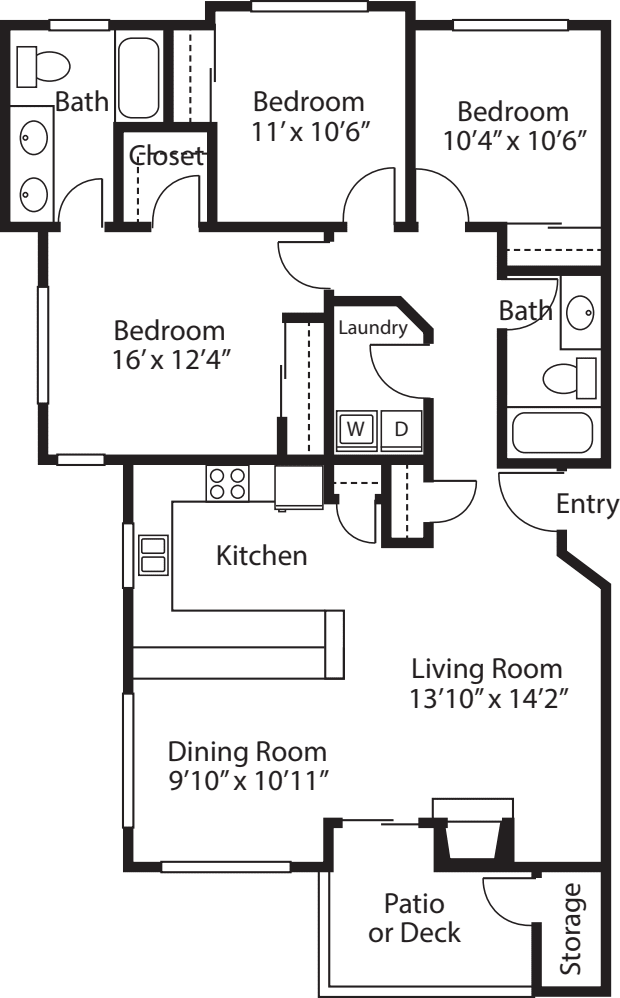 Three Bedroom/ Two Baths