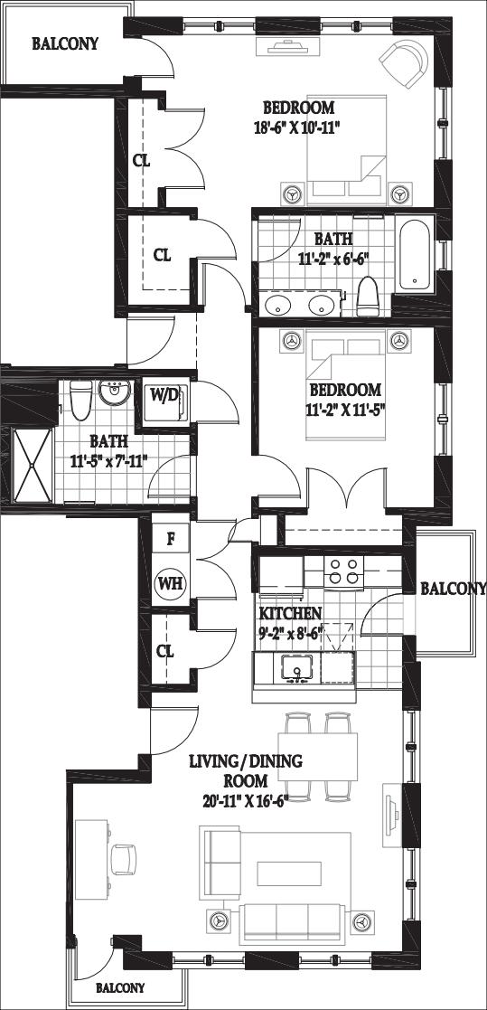 Villa Two Bedroom 3rd Floor with Balcony