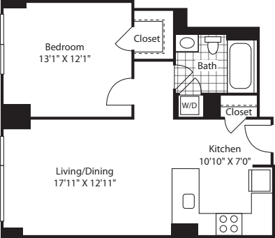 1 Bed (South) - 696
