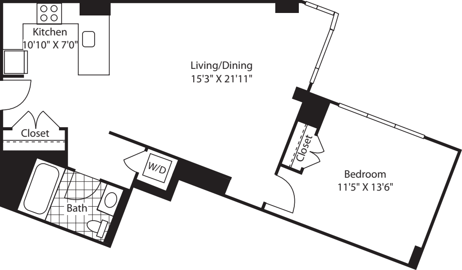 1 Bed (South) - 810
