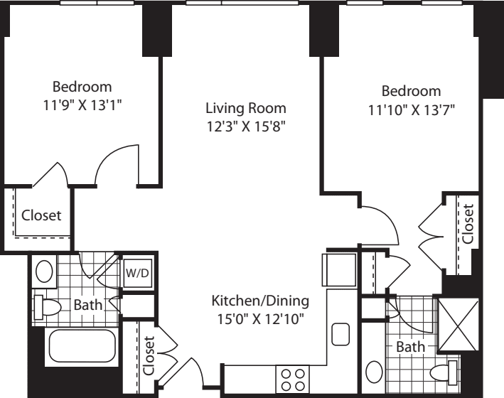 2 Bed (South) - 1106