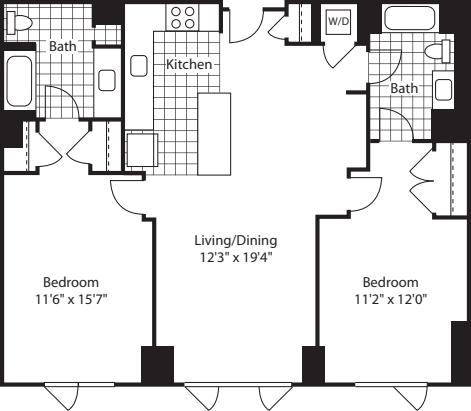 2 Bed (North)- 1073