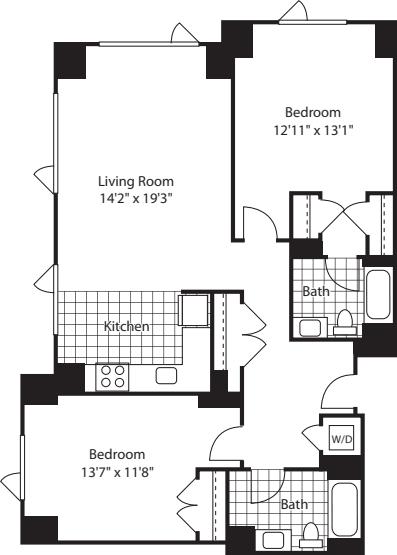 2 Bed (North)- 1201