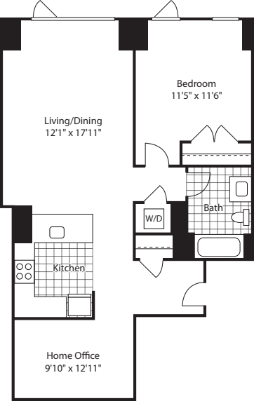 1 Bed w/ Office (North)