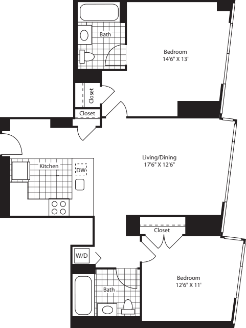 Two Bed U Kit FL 28-46