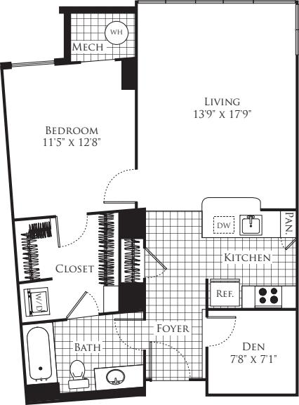 1 Bedroom with Den- 823
