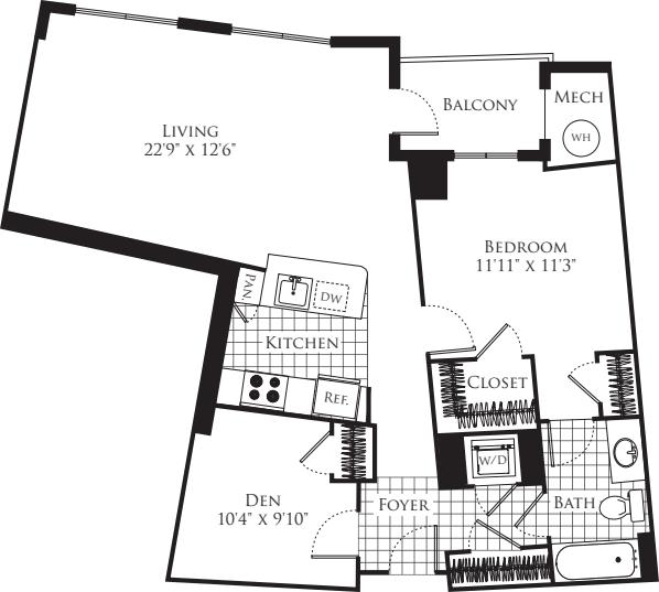 1 Bedroom with Den- 910