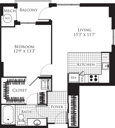 1 Bedroom- 785