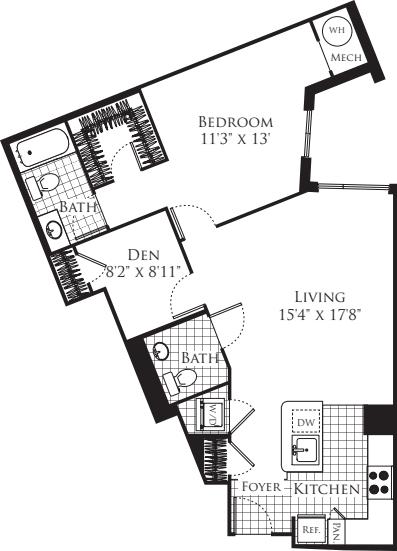 1 Bedroom with Den 949