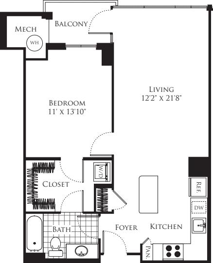 1 Bedroom- 754