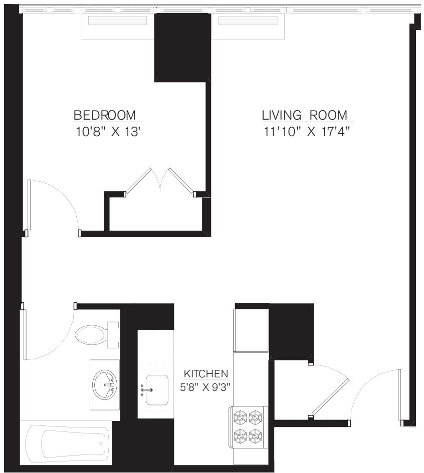 1 Bedroom A Line floors 8-16