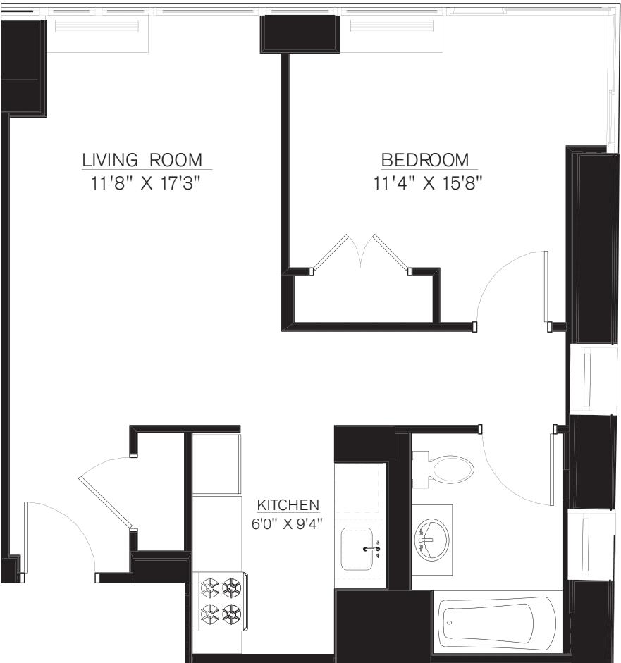 1 bedroom F Line floors 17-41