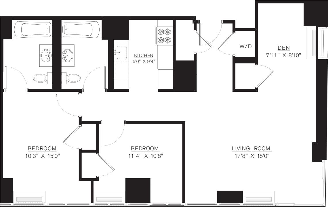 2 bedroom with Den F Line floors 42-50
