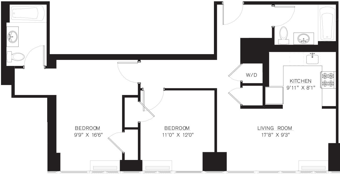 2 Bedroom H Line floors 8-41