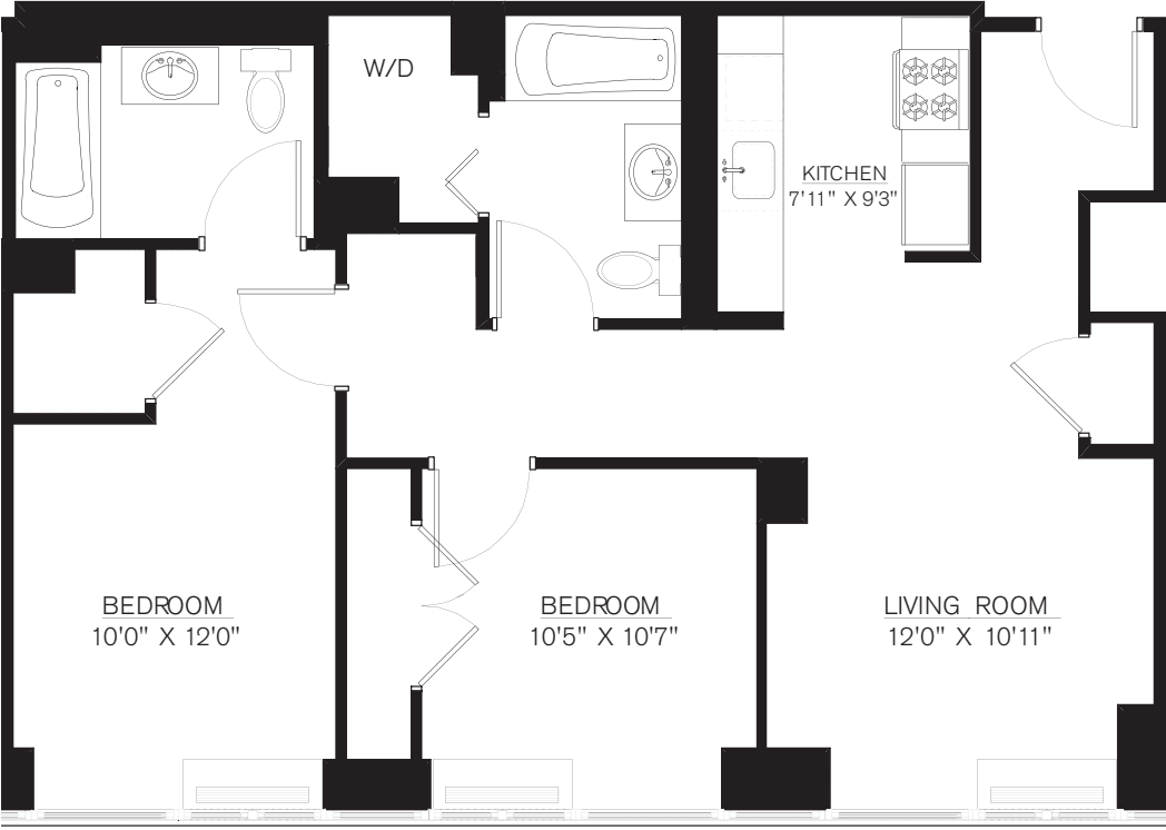 2 Bedroom H Line floors 42-50