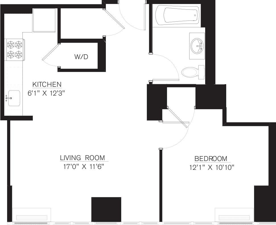 1 Bedroom J Line floors 17-41