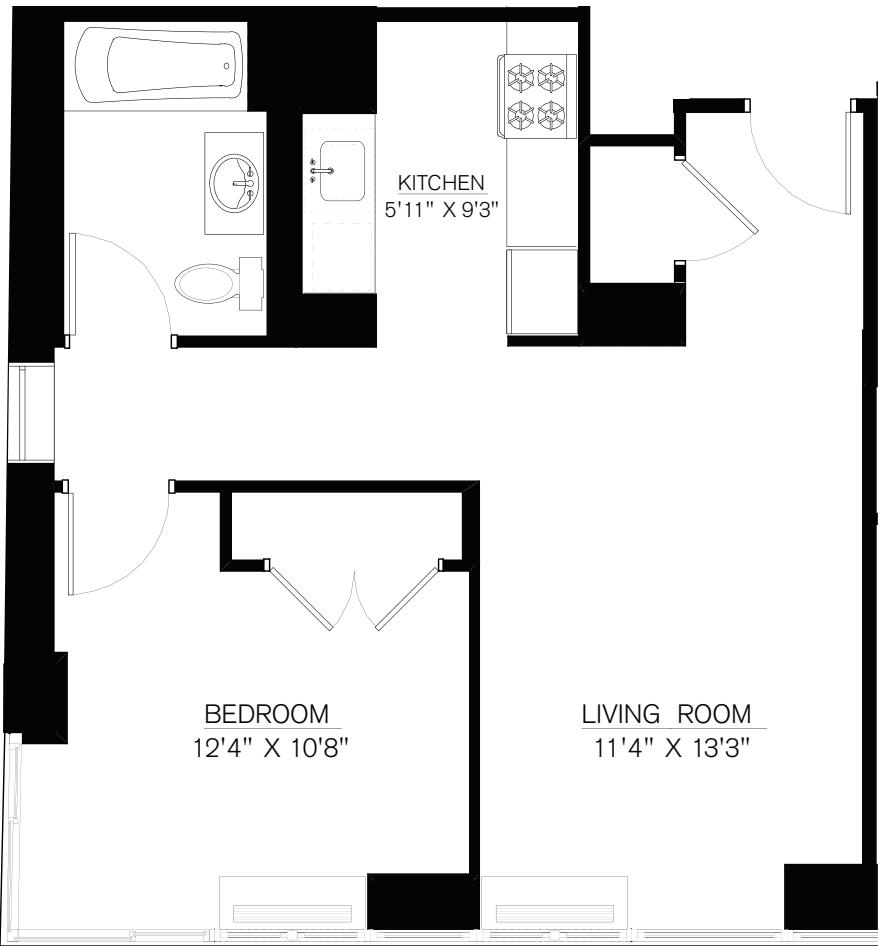 1 Bedroom J Line floors 42-50