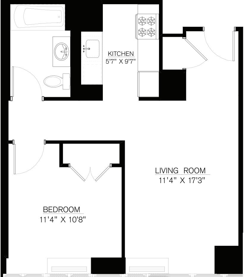 1 Bedroom L Line floors 9-16