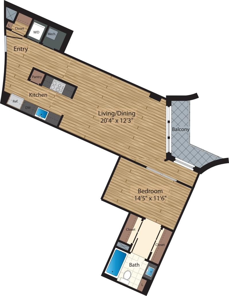 One Bedroom E 823