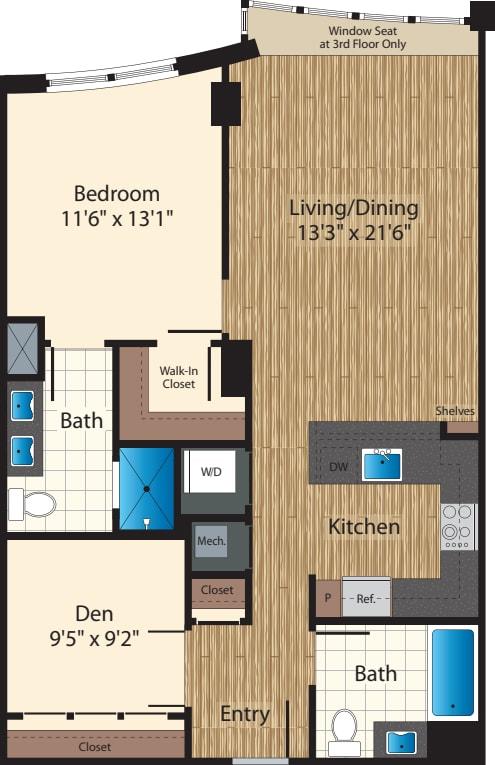 One Bedroom+Den J/979