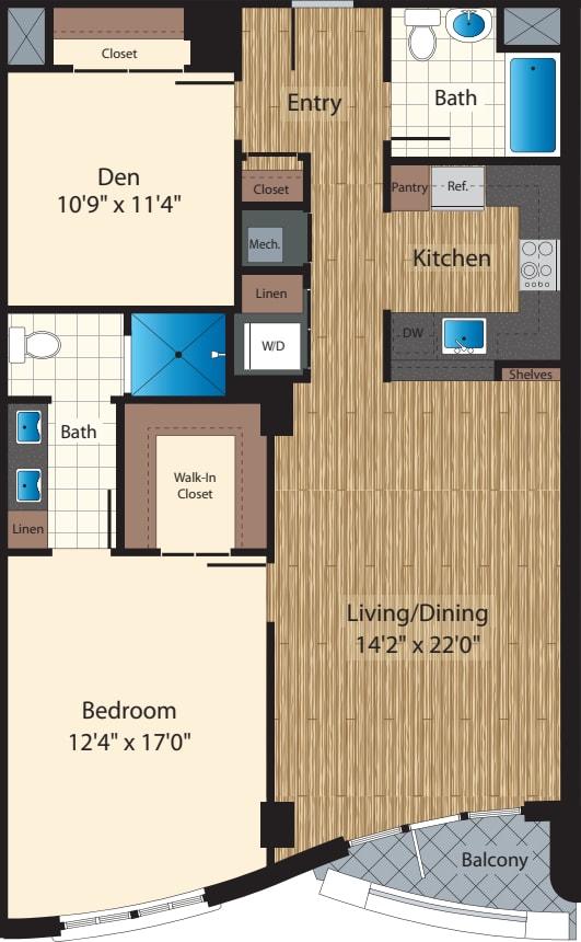 One Bedroom+Den J/1193