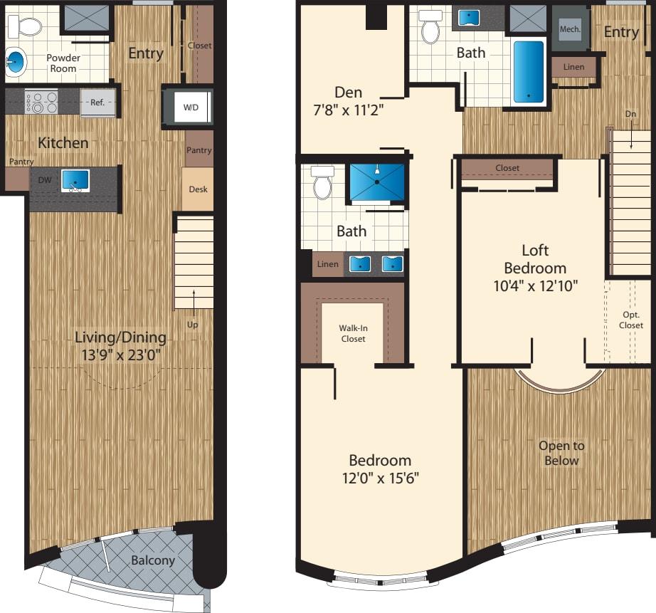 Two Bedroom+Den Loft/  Two Bath K/1585