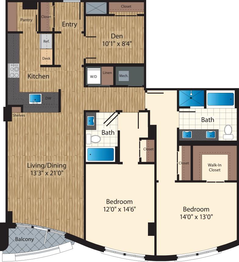 Two Bedroom+Den B/1529