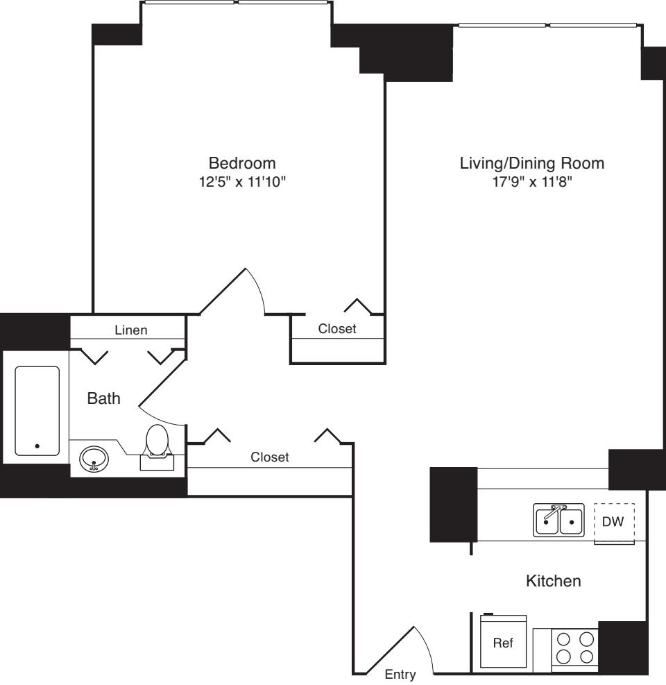 Residence D, floors 18-20