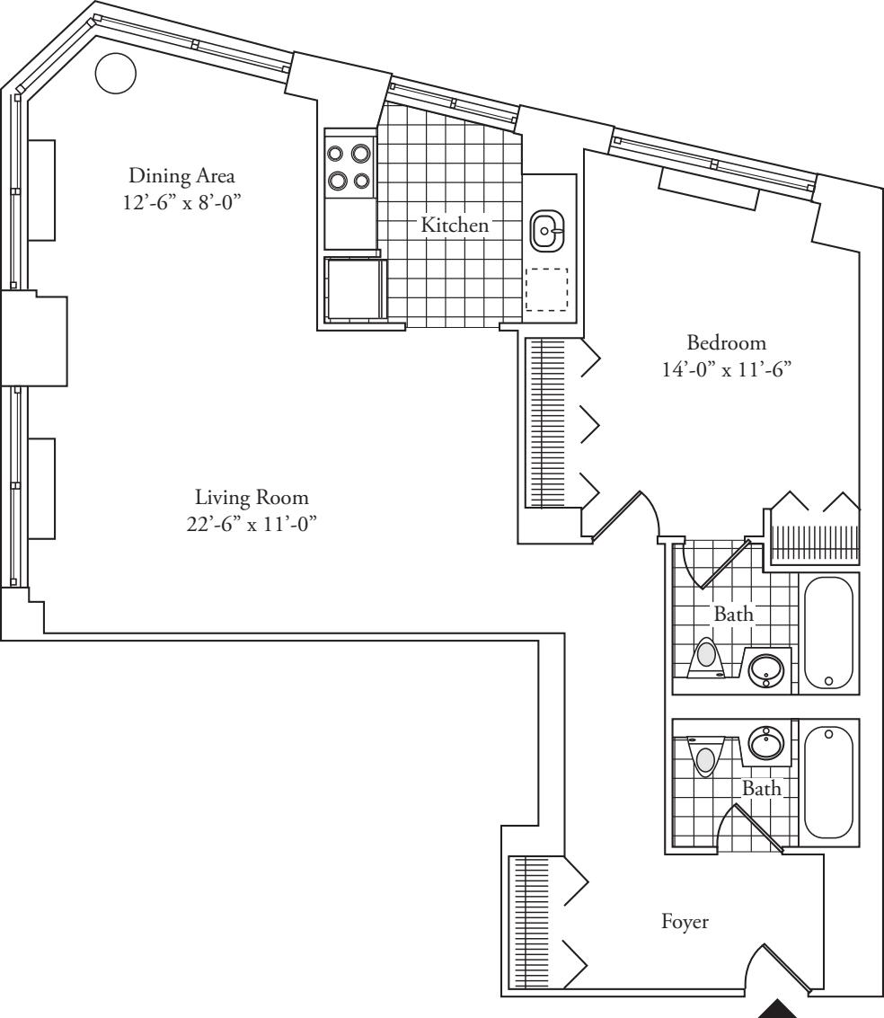 Residence A, floors 3-17
