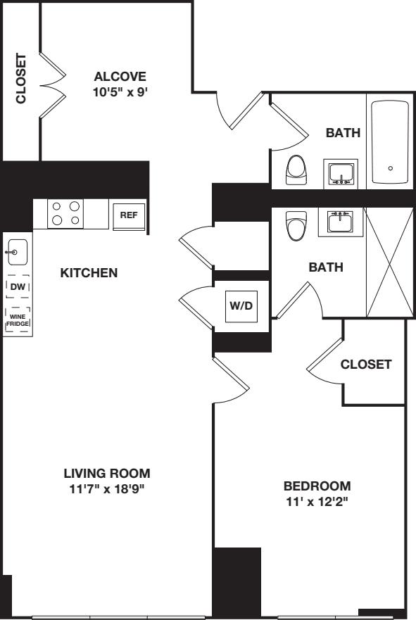 One Bedroom plus Alcove 3L