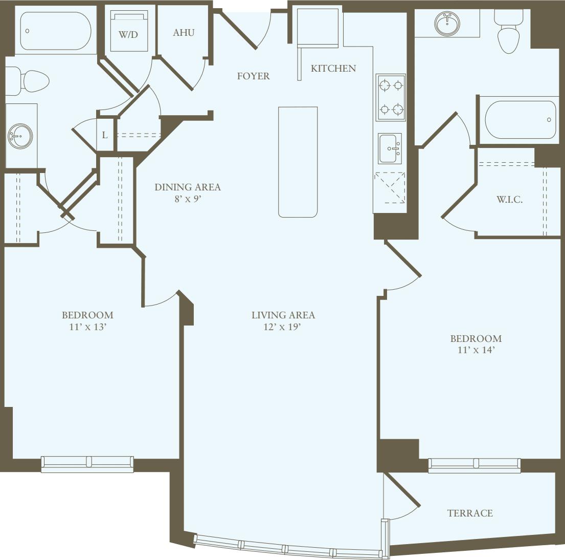 2 Bedrooms L