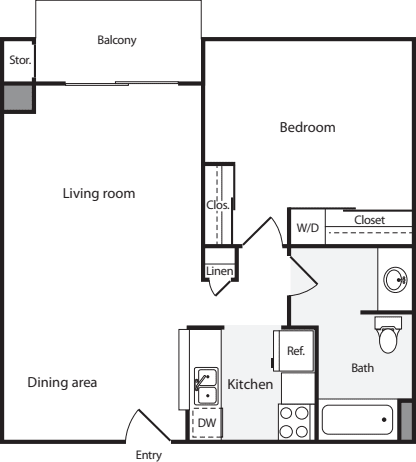 1 Bedroom A w/ WD