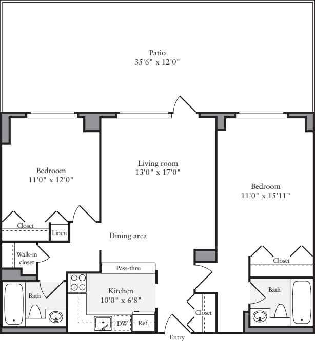 2 Bedrooms F with Terrace