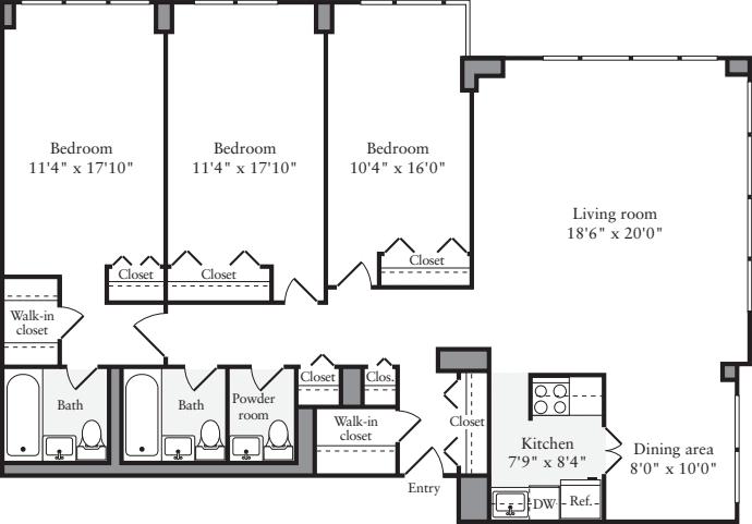 3+ Bedrooms H