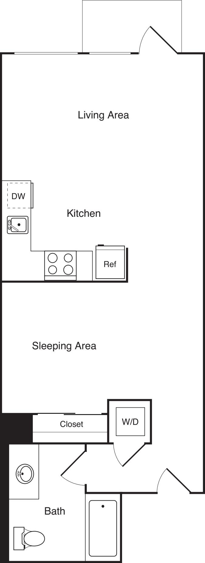 Open 1 Bedroom  B2