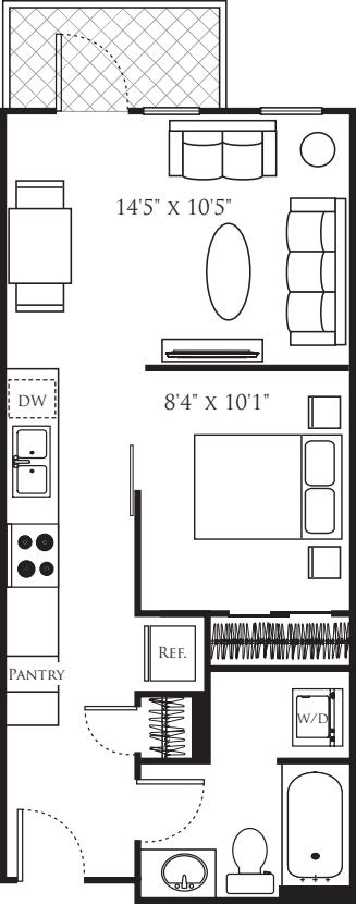 Open 1 Bedroom C