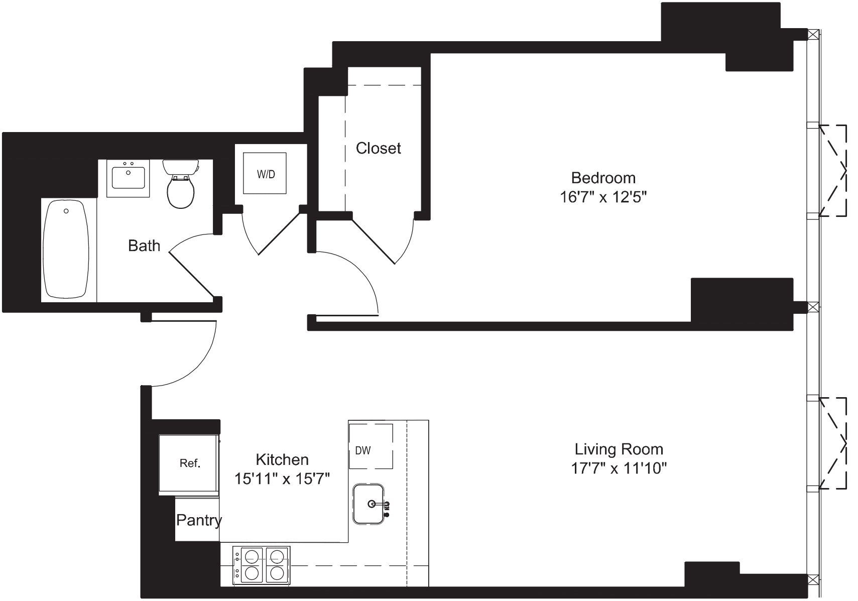 One Bedroom F 7-19