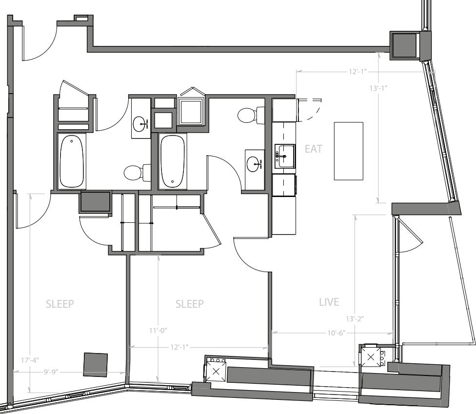 2 Bedroom C with Balcony