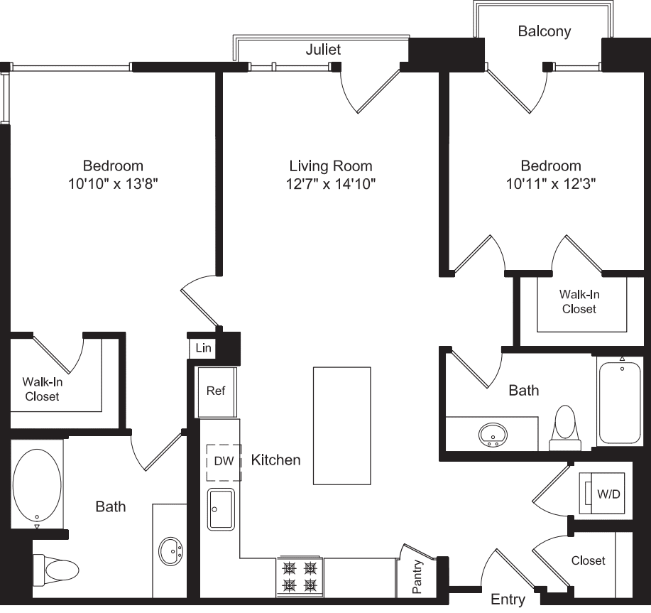 Two Bed B5 with Balconies