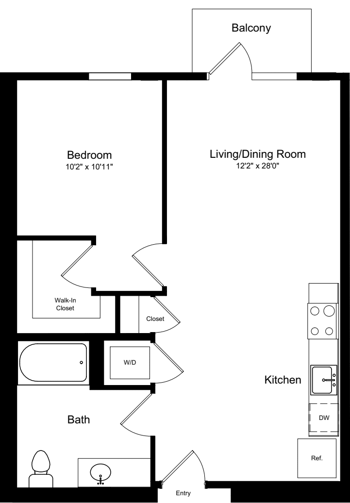 1 Bedroom A1 with Balcony